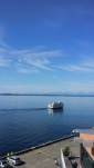 The Argossy Cruise boat passing by the Seattle waterfront