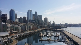 View of downtown Seattle from the top of Pier 66
